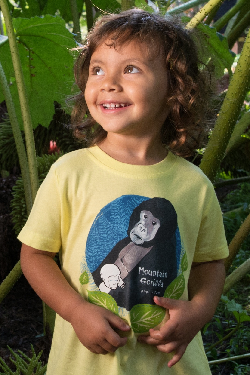 $1 for One.  Support the extraordinary and courageous work of the International Gorilla Conservation Programme in Rwanda, Uganda and the Democratic Republic of Congo by purchasing a SpeeZees Mountain Gorilla t-shirt in Baby Blue or Happy Sun.  Made from 100% GOTS certified organic cotton.