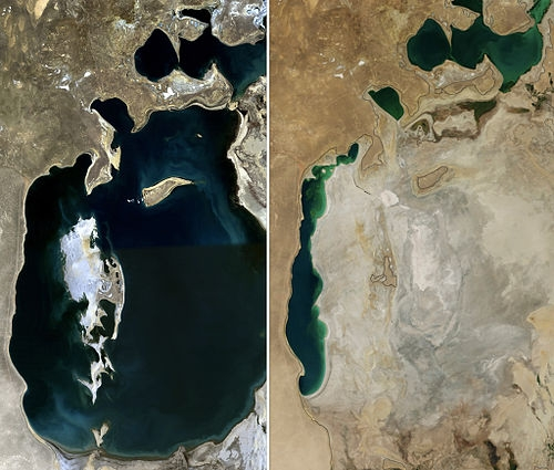 The Aral Sea in 1989 (left) and 2014 (right)