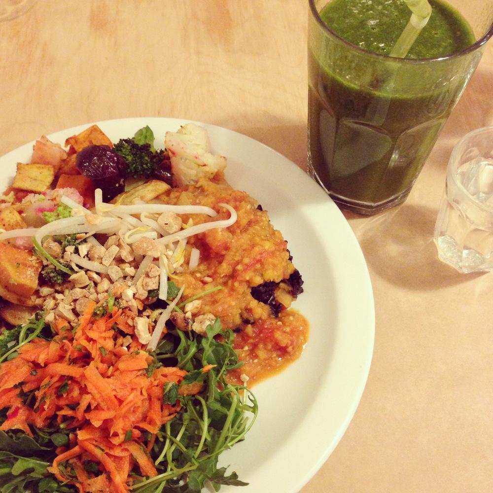 Jennifer's favorite:Bob's Kitchen -Veggie Stew with Sate Sauce, Green Juice.