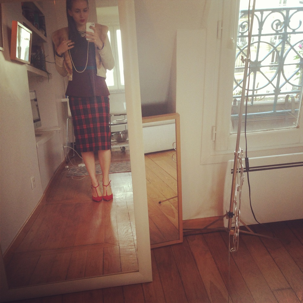 Shameless post: off to an interview. Parisians loved that plaid skirt.