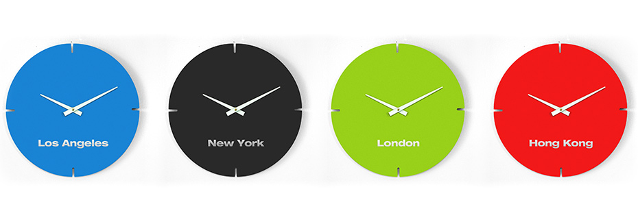 Red Blue Black Green BOLLA Clock