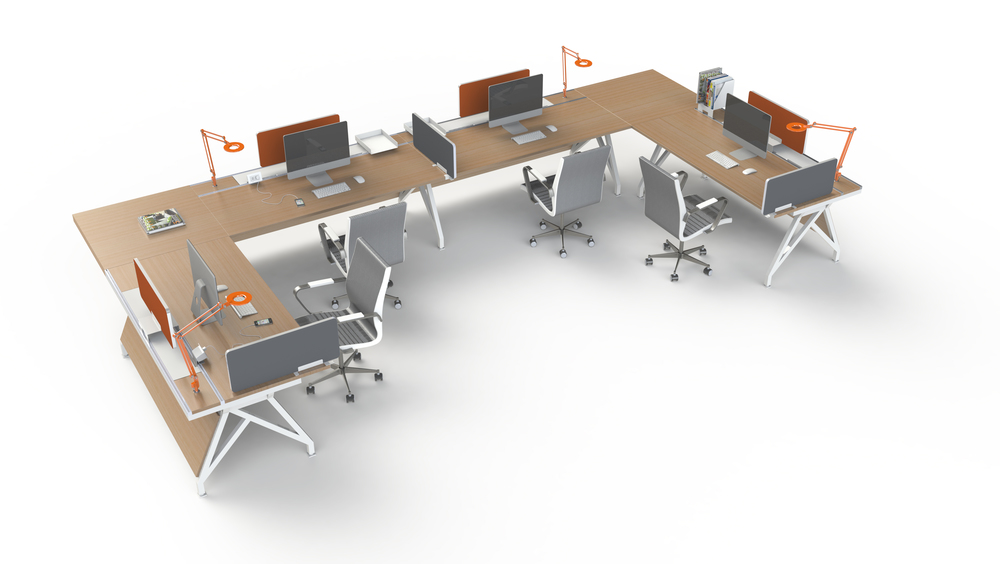 EYHOV in a Workgroup Configuration with Privacy Screens and Integrated Task Lighting