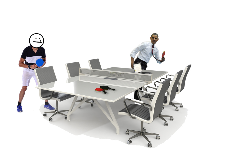 The US President unwinds with a game of Table Tennis on the Sport Conference Table by Scale 1:1