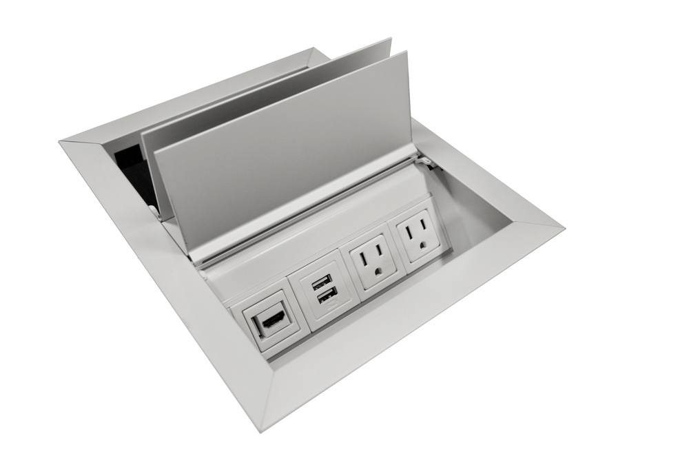 Conference Table Power and Data Units - Flip-Top