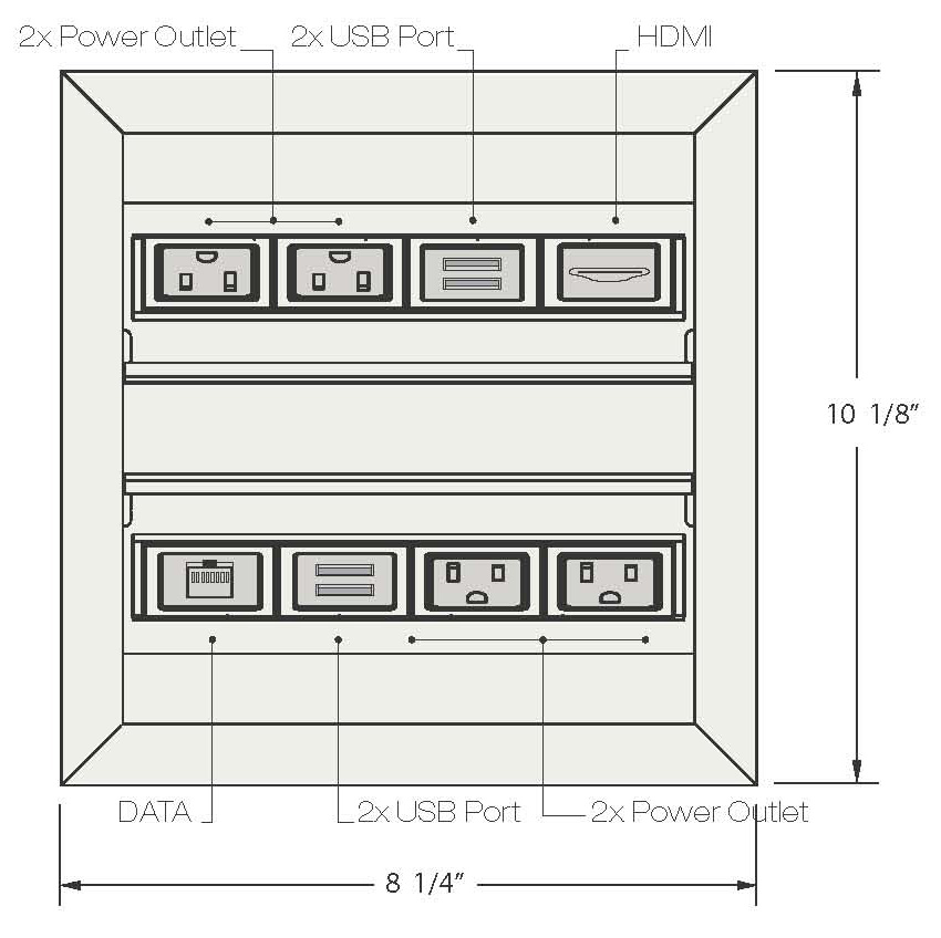 Conference Table Power and Data Units Surface Mounted 4 ports diagram