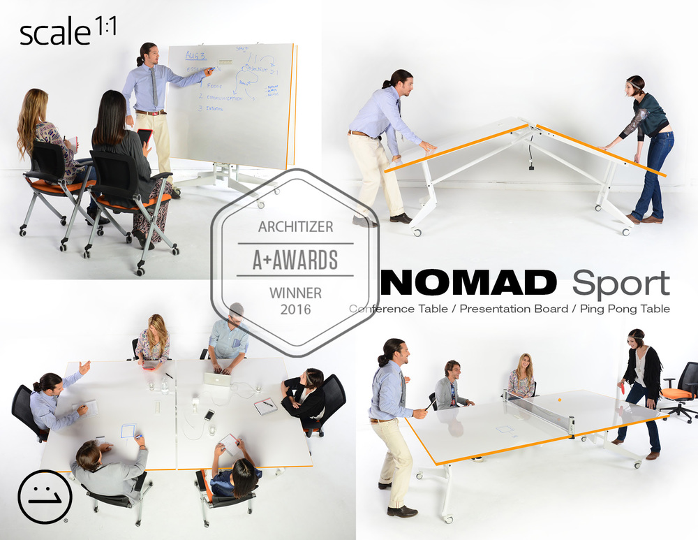 Nomad Sport Conference Table,  an amazing three-in-one product: Folding conference table with built-in power, Ping Pong Table, and Mobile Marker Board.  For pricing and details, please contact your preferred dealer or info@scale1to1.com