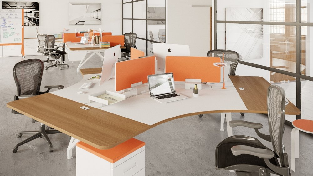 EYHOV 120 Hub Case Study Desk Workstations