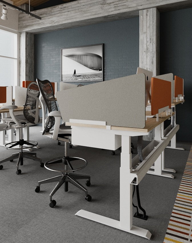 WiiRise single - Single in-line adjustable height workstations are scaleable to plan efficient benching layouts. A single row of workstations can be standalone or can link together offering expandable planning opportunities for a fully integrated collaborative environment.