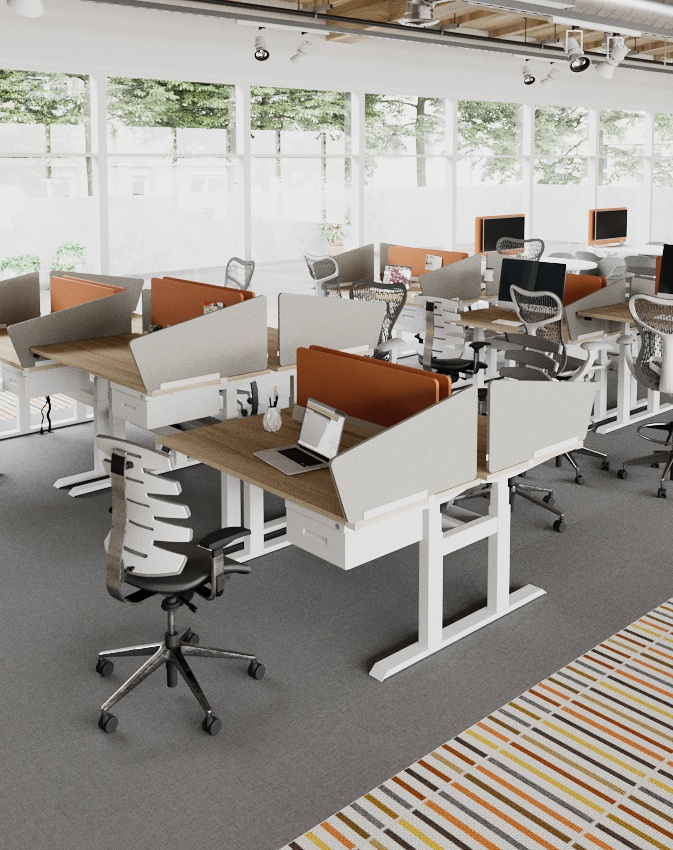 WiiRise double - Dual Tables offer an expandable adjustable height workstation configuration to plan dynamic benching solutions . Back-to-back workstations can be standalone or link together  with fully integrated electrical power and data solutions.