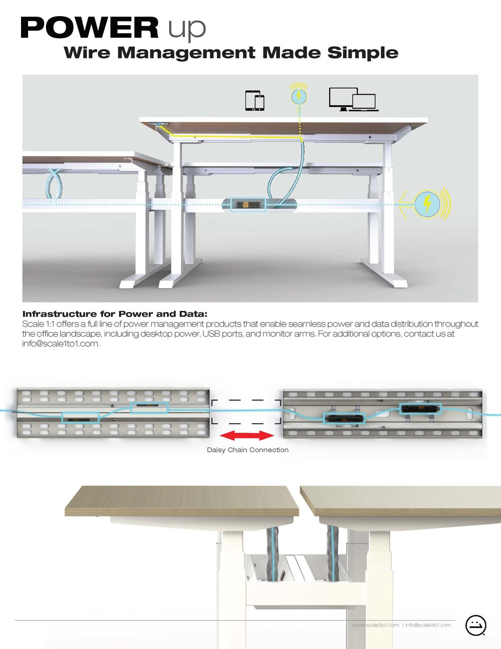 wiiRise Height Adjustable Desks Power Up Wire Management