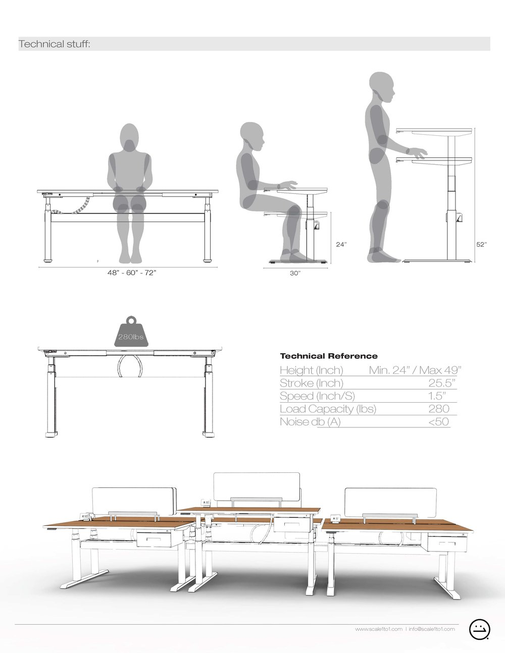 wiiRise Height Adjustable Desks Documentation Tech Specs