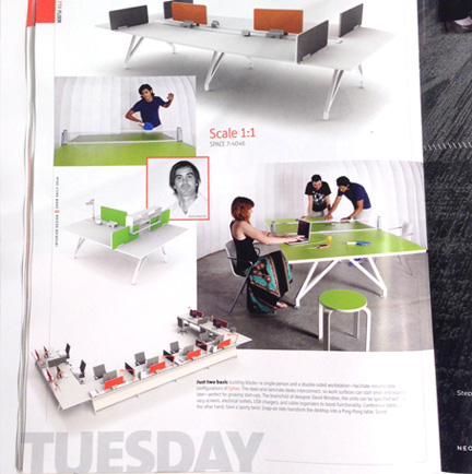 Interior Design Magazine NeoCon Edition showing the scale1-1  ping pong table Conference table and bolla stool in scale green,