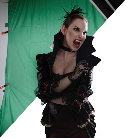 Chroma green screen used for model's extraction.
