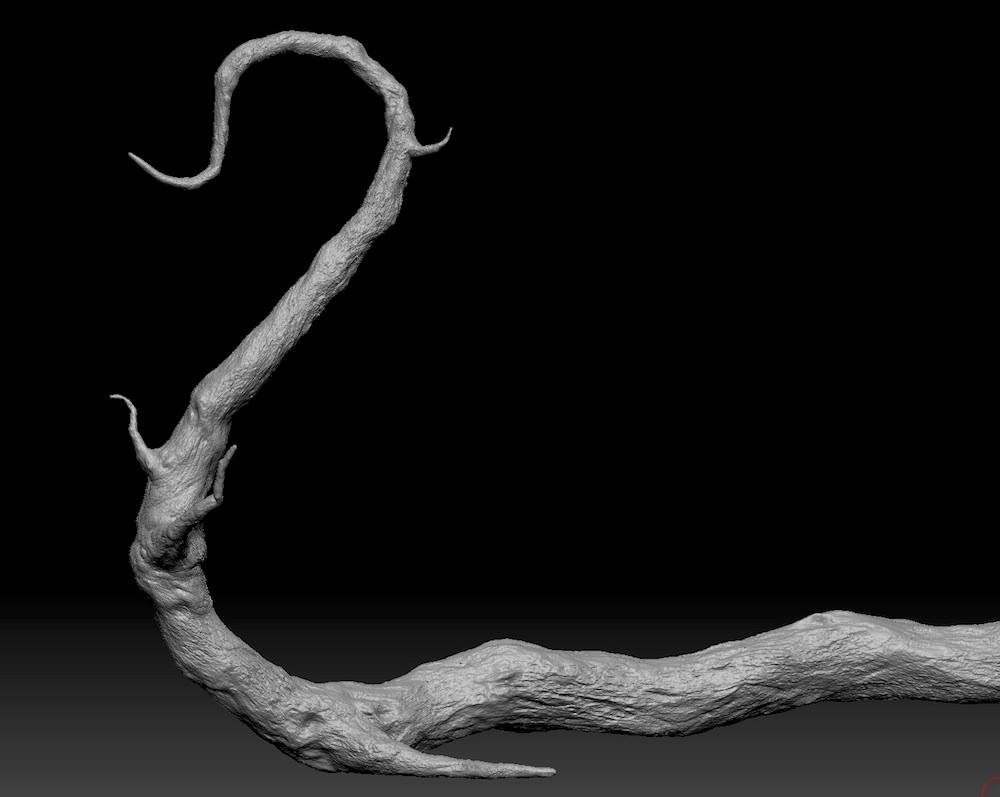 This is the hero branch I sculpted in Zbrush 3D.