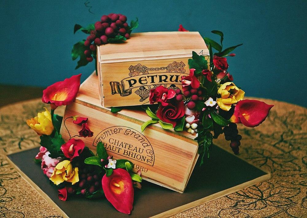 Торт винные коробки