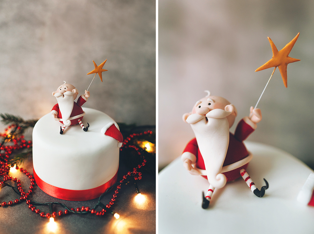 Торт на Новый год с Дедом Морозом. МаленькийФруткейк. Вес 1 кг, стоимость 4000 рублейУпс! Маленькие фруткейки закончились