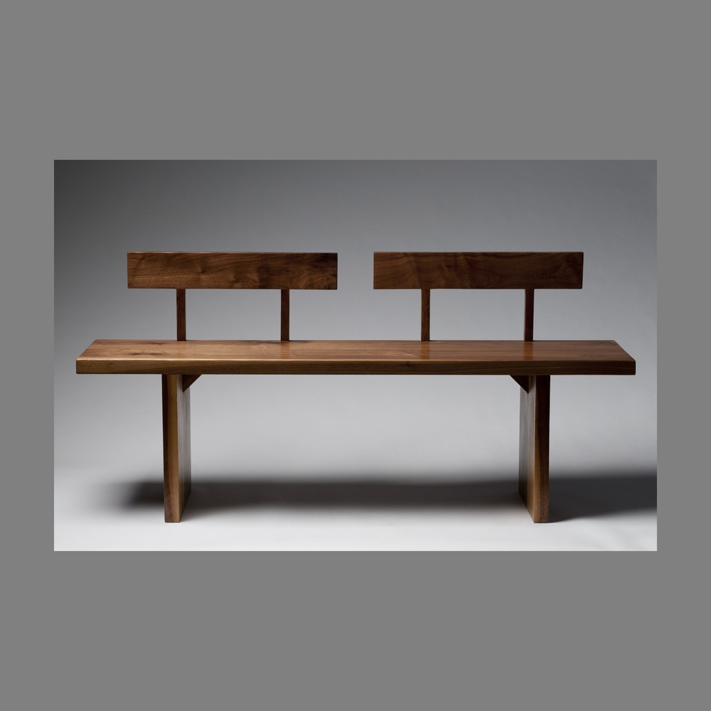 minimalist walnut bench