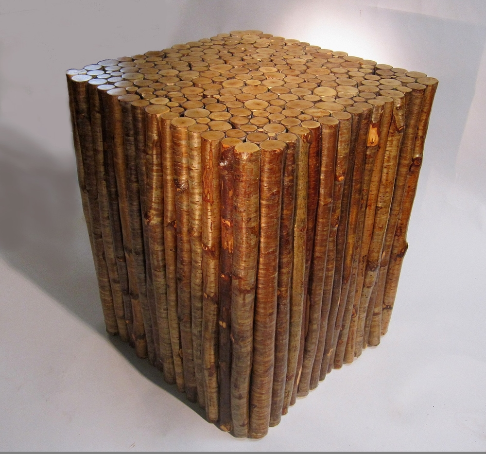 square yellow birch end table
