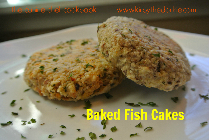 Baked fish cakes the canine chef cookbook for Baked fish cakes
