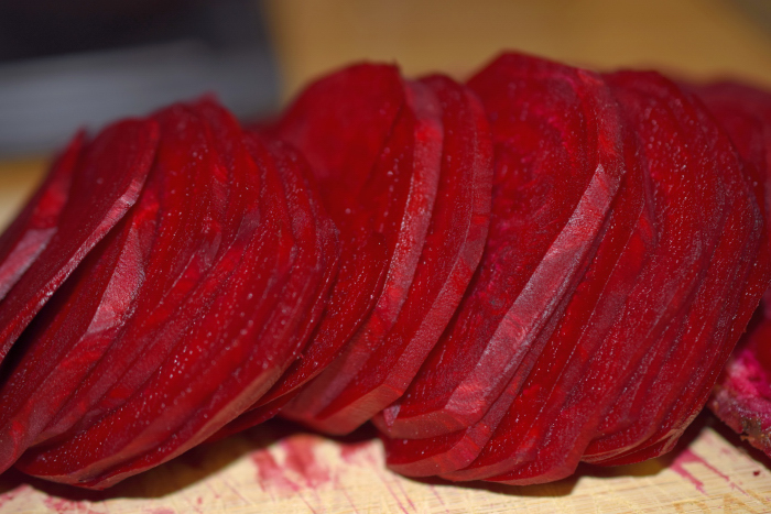 Red Beetroots sliced thin