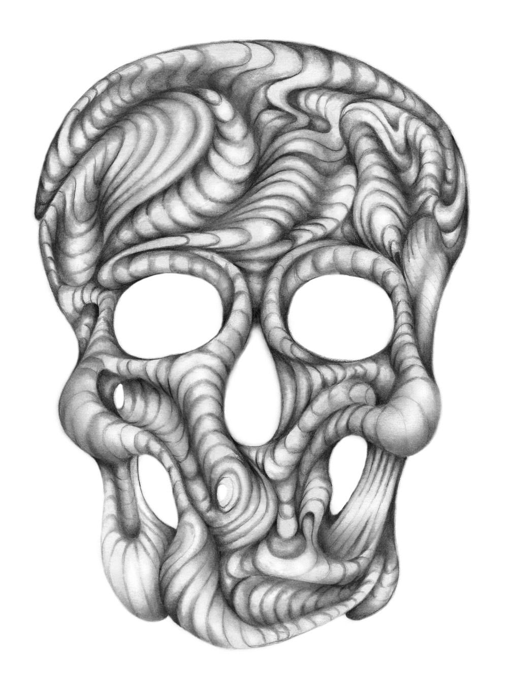 Adrianna+Grezak Skull BW Drawing