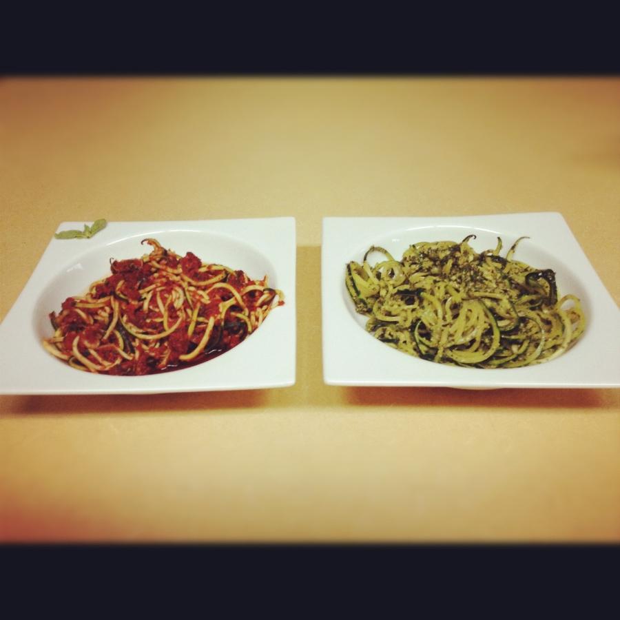 Zucchini noodles marinara + zucchini noodles with pesto