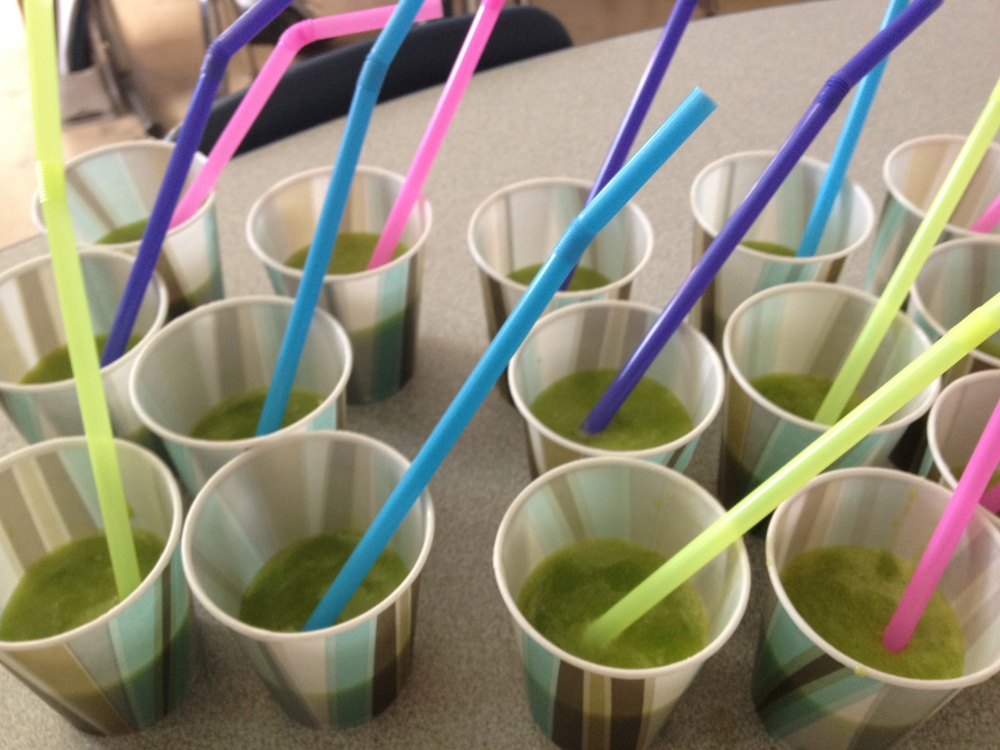 Green smoothies for the students.