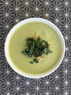 Asparagus Cauliflower Soup with Basil and Pine Nuts