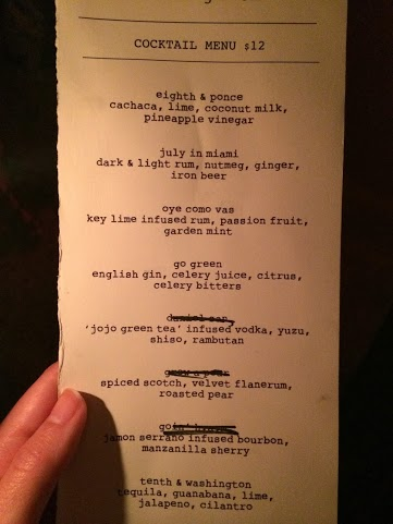 Cocktail Menu at Drinking Room