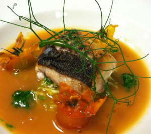 Foodable WebTV Network | Photo Credit: Akira Back | Pictured: Onaga with pea shoot tendril and heirloom tomato dashi