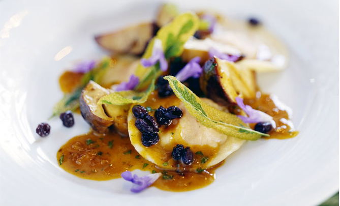 Winter Squash Ravioli with Currants and Sage Butter | TheHerbfarm.com