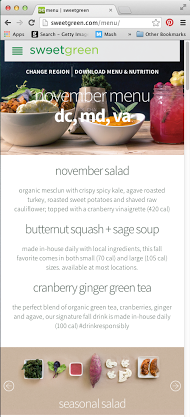 Sweetgreen is a great example of a brand using Responsive Design  | Foodable WebTV Network