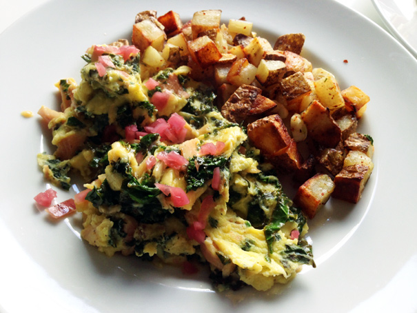 Scrambled Eggs with Smoked Trout, Pickled Onions and Kale  | Photo Credit: Amateur Gourmet