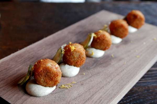 Pig croquettas with aioli  | Photo Credit: Mattatouille