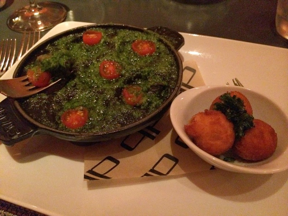 Escargot Persillade — Wild Burgundy Snails, Garlic, Parsley, Potato Croquettes
