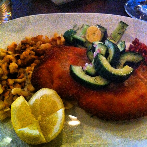 Pan-Fried Duck Schnitzel with Quark Spaetzle, Hazelnuts, Cucumber-Potato Salad and Stewed Wolfberries, The Marrow  | Credit: Instagram, justsamuelk
