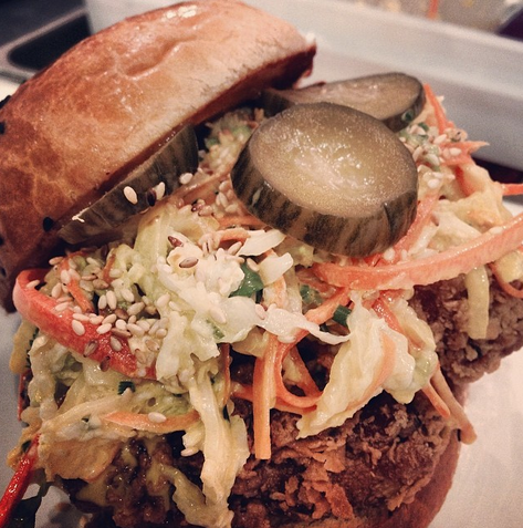 Thai Style Fried Chicken Sandwich with Napa Cabbage Slaw and Nam Prik Ong, Kin Shop  | Credit: Instagram, chefevy
