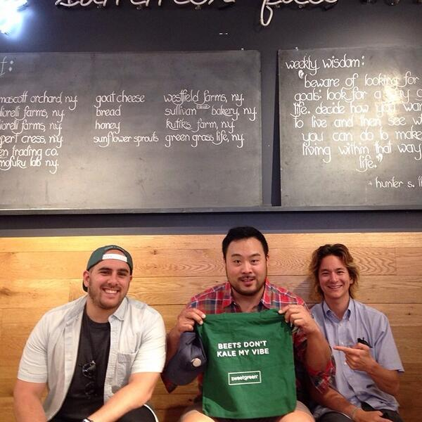 Sweetgreen's  Nic Jammet  (far left) and Nathaniel Ru (far right) with David Chang | Credit: Twitter