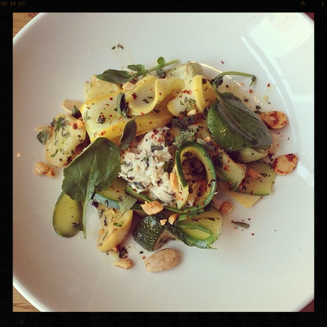 Summer Squashes with Gulf Crab, Marcona Almonds, Mint and Marjoram | Credit: Instagram, cbdprovisions