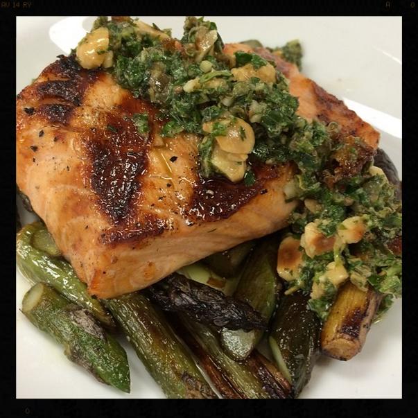 Salmon, Grilled Klug Farm Asparagus, Roasted Onions & Hazelnut Salsa Verde | Credit: Instagram, nellcote833