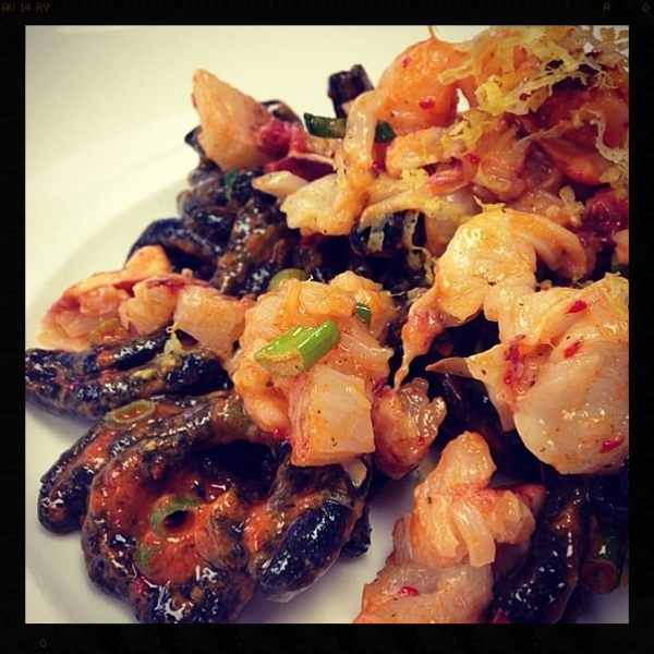 Squid Ink Strozzapreti with Maine Lobster, Fresno Chilies, Scallions, & Pine Nut Pesto | Credit: Instagram, nellcote833