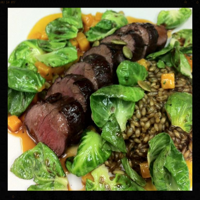 Roasted Venison Loin with Butternut Squash, Sautéed Brussels Sprout Leaves, Hulled Barley & Toasted Pumpkin Seeds |Credit: Facebook, Birch & Barley