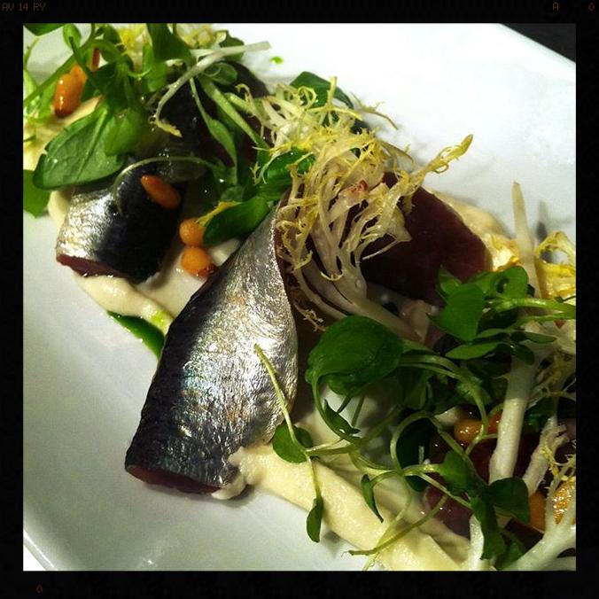 House-Cured Sardines Served with Cauliflower, Pinenuts, Mâché & Frisee | Credit: Facebook, Birch & Barley