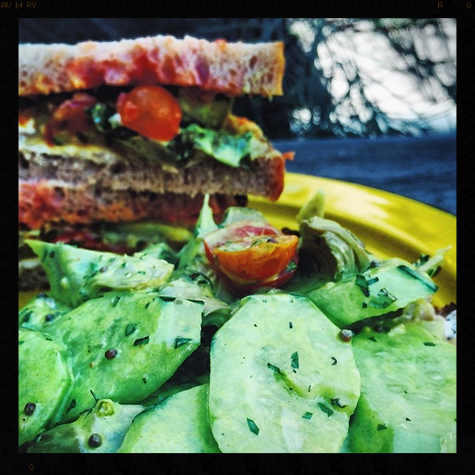 Great Bombay Street Sandwich: Cucumber, Tomatoes, Artichokes, Eggplant, and Goat Cheese tossed in Turmeric Yogurt | Credit: Instagram, baragricole