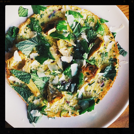 Farinata with Baby Artichokes, Mint, and Shaved Pecorino | Credit: Instagram, baragricole