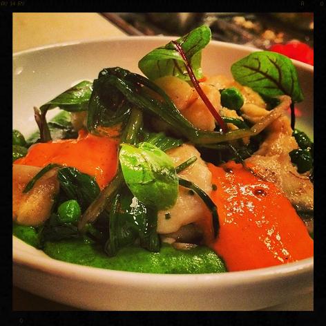 Cod Brandade Gnocchi, Ramps, Favas, Peas, Piquillo Pil Pil, Mointboisse Cheese  | Credit: Instagram, chefmendin