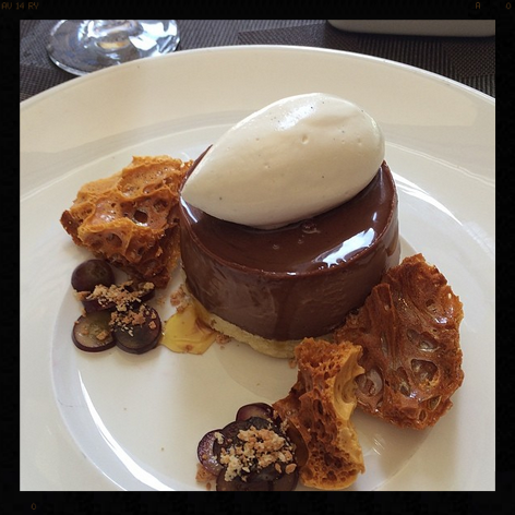 Salted Dark Chocolate Bonet, Almond Cake, Golden Caramel Grapes, Honeycomb, Vanilla Cream, Perbacco | Instagram