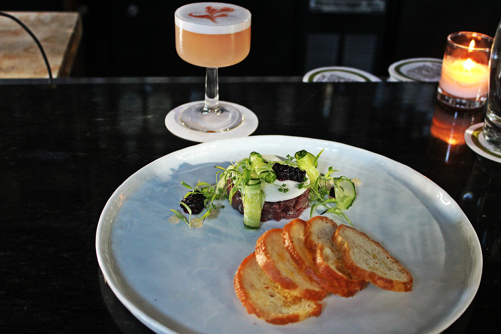 Vension Tartare paired with a Cachaca Cocktail, Spur Gastropub in Seattle  | Foodable WebTV Network