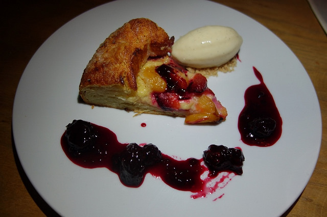 Santa Rosa Plum Crostata with lavender, pastry cream, blackberry compote, vanilla ice cream | Foodable Network