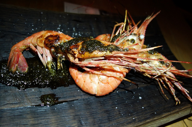 Wild Spot Prawns with buttermilk, grilled black kale pesto | Foodable Network
